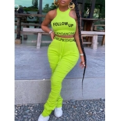 lovely Sportswear O Neck Letter Fold Design Green