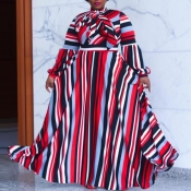 lovely Trendy Striped Print Red Maxi Plus Size Dre