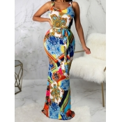 lovely Street U Neck Print Multicolor Maxi Dress