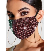 lovely Rhinestone Decorative Wine Red Face Mask