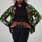 lovely Trendy Print Zipper Design Green Coat