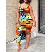 Lovely Trendy U Neck Print Orange Ankle Length Dre