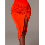 Lovely Trendy Fold Design Orange Skirt