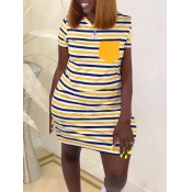 Lovely Casual O Neck Striped Orange Mini Plus Size