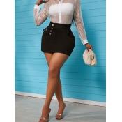 lovely Stylish Buttons Design Black Denim Skirt