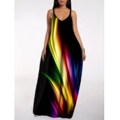 Lovely Street Print Black Maxi Plus Size Dress