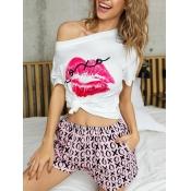 lovely Cosy O Neck Lip Print Pink Loungewear