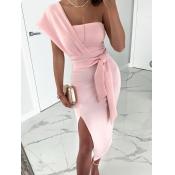 lovely Trendy One Shoulder Knot Design Pink Knee L