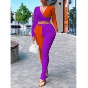 Lovely Street V Neck Patchwork Purple Plus Size Tw