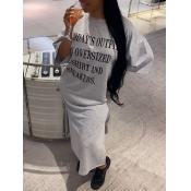 Lovely Casual O Neck Letter Print Grey Ankle Lengt