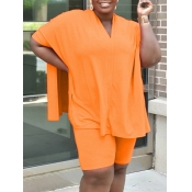 Lovely Casual V Neck Side Slit CrociPlus Size Two