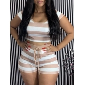 lovely Casual O Neck Striped Coffee Two Piece Shor