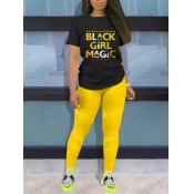 lovely Casual O Neck Letter Print Yellow Two Piece