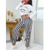 lovely Casual O Neck Letter Print White Two Piece