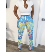 lovely Leisure Print Zipper Design BlueTwo Piece Pants Set