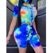 lovely Casual O Neck Tie Dye Blue Two Piece Shorts