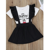lovely Casual O Neck Print White Girl Two-piece Skirt Set