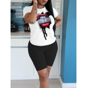 lovely Casual O Neck Lip Print Black Two Piece Shorts Set