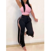 lovely Sportswear Patchwork Hollow-out Pink Two Piece Pants Set