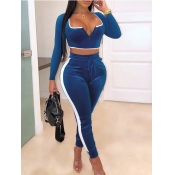 Lovely Sportswear Patchwork Drawstring Blue Two Piece Pants Set