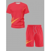 Lovely Sportswear O Neck Print Red Men Two-piece Shorts Set