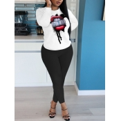 lovely Leisure O Neck Lip Print Black Two Piece Pants Set