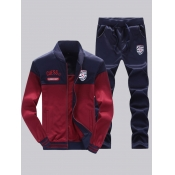 Lovely Sportswear Patchwork Zipper Design Wine Red Two-piece Pants Set