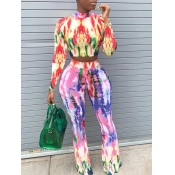 Lovely Stylish O Neck Tie Dye Multicolor Two Piece Pants Set