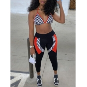 lovely Sportswear Backless Print Patchwork Black Two Piece Pants Set