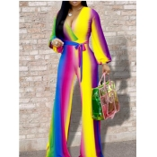 lovely Trendy V Neck Tie-dye Striped Purple One-piece Jumpsuit(Batch Striped Print)