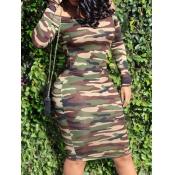 lovely Trendy Dew Shoulder Camo Print Knee Length Dress