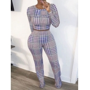 Lovely Casual O Neck Grid Print Light Purple Two Piece Pants Set