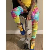 Lovely Street Tie-dye Broken Holes Multicolor Jeans