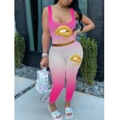 lovely Trendy U Neck Gradient Lip Print Pink Two Piece Pants Set