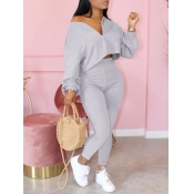 lovely Casual Zipper Design Grey Two Piece Pants S