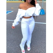 Lovely Trendy Dew Shoulder Fold Design White Two Piece Pants Set