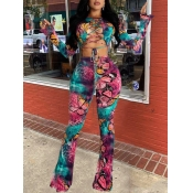 lovely Trendy Butterfly Print Bandage Design Dusty Pink Two Piece Pants Set(Batch Print)