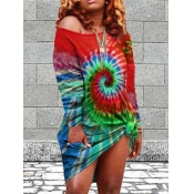 Lovely Street O Neck Tie-dye Red Knee Length Dress