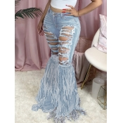 lovely Street Broken Holes Tassel Design Baby Blue Jeans