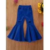 lovely Trendy Broken Holes Flared Royalblue Girl Jeans