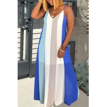 lovely Casual V Neck Striped Blue Maxi Dress