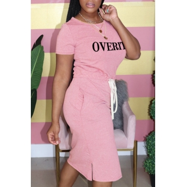 lovely Casual Letter Print Pink Knee Length Plus Size Dress