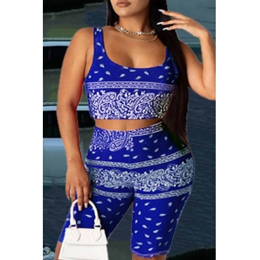 lovely Trendy Print Blue Plus Size Two-piece Shorts Set