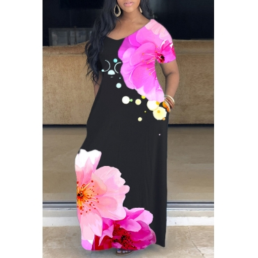 lovely Casual V Neck Print Pink Ankle Length Plus Size Dress