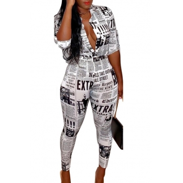 lovely Trendy Letter Print White Two Piece Pants Set