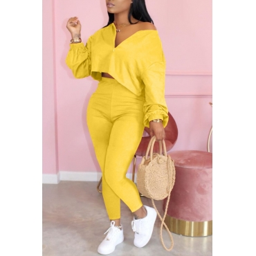 lovely Casual Zipper Design Yellow Two Piece Pants Set