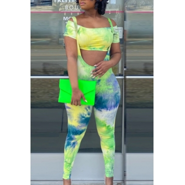 lovely Stylish Tie Dye Green Two Piece Pants Set
