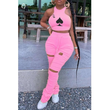 lovely Casual Print Fold Design Pink Two Piece Pants Set