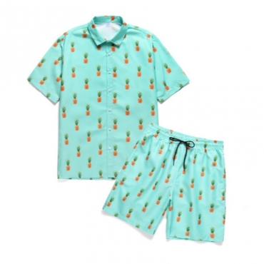 lovely Leisure Turndown Collar Print Green Two-piece Shorts Set