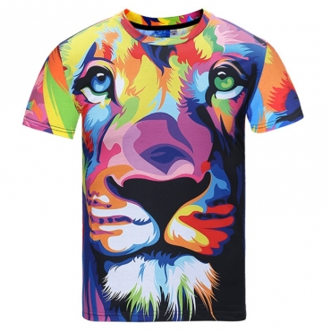 lovely Casual O Neck Print Multicolor T-shirt